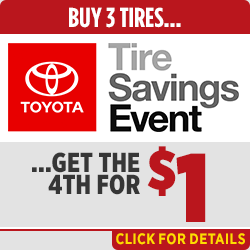 Save on tires with our buy 3 get 1 free service special at Capitol Toyota in Salem, OR
