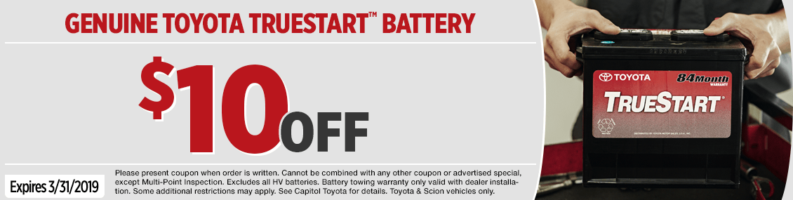 Click to Print this genuine Toyota TrueStartTM Battery Replacement Service Special in Salem, OR