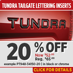 Save on OEM Toyota Tundra Tailgate Lettering Inserts in Salem, OR