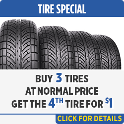 Buy 3 tires at normal price and get the 4th tire for a buck. Parts Special in Salem, OR