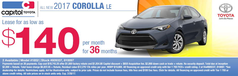 2017 Toyota Corolla LE Lease Special in Salem, OR