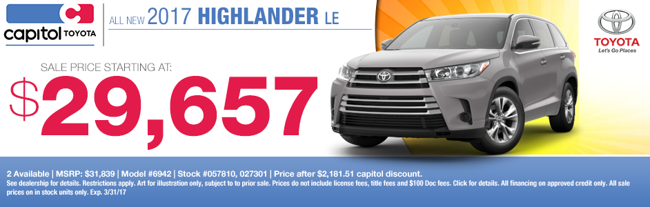 2017 Toyota Highlander LE Low Payment Lease Special in Salem, OR