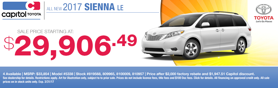 2017 Toyota Sienna LE Lease Special in Salem, OR