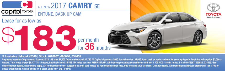 2017 Toyota Camry SE Low Payment Lease Special in Salem, OR