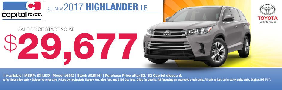 Capitol Toyota's New 2017 Highlander Purchase Special in Salem, OR