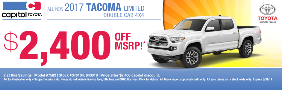Buy a New 2017 Toyota Tacoma and Save at Capitol Toyota in Salem, OR