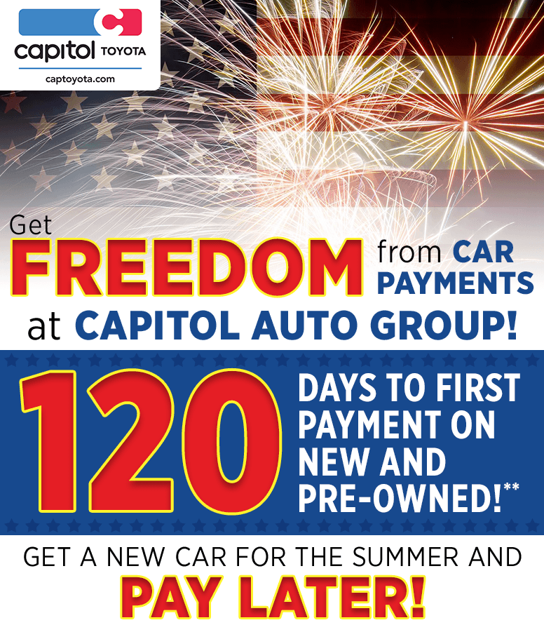 120 Days of Freedom from Car Payments at Capitol Toyota in Salem, OR