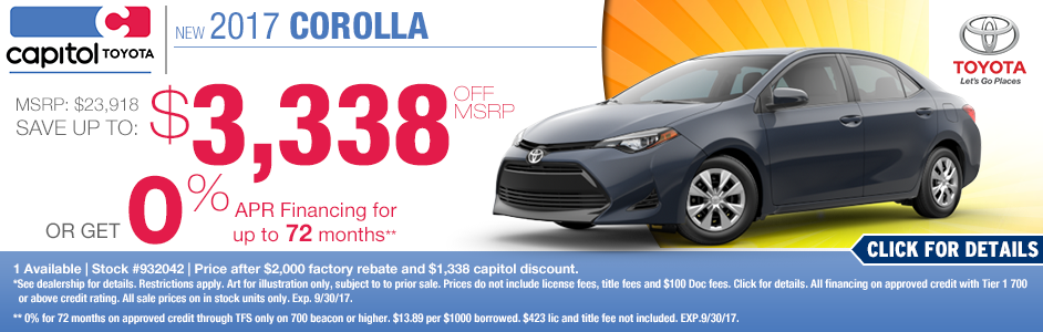 Purchase or Finance a New 2017 Corolla for Less in Salem at Capitol Toyota