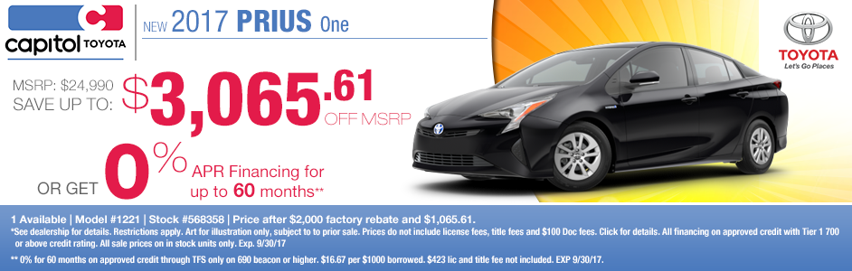 Capitol Toyota 2017 Prius One Purchase and Finance Special Offers serving Salem, OR