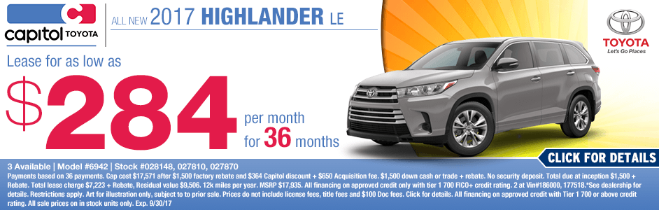 Lease a New 2017 Toyota Highlander LE with Low Payment Lease Pricing from Capitol Toyota