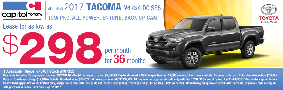 New 2017 Toyota Tacoma V6 4x4 Double Cab SR5 Lease Special at Capitol Toyota