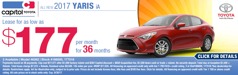 Capitol Toyota New 2017 Yaris iA Lease Special serving Salem, Oregon