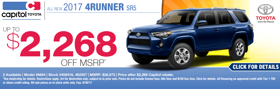 Save on a New 2017 4Runner SR5 in Salem with Capitol Toyota Specials