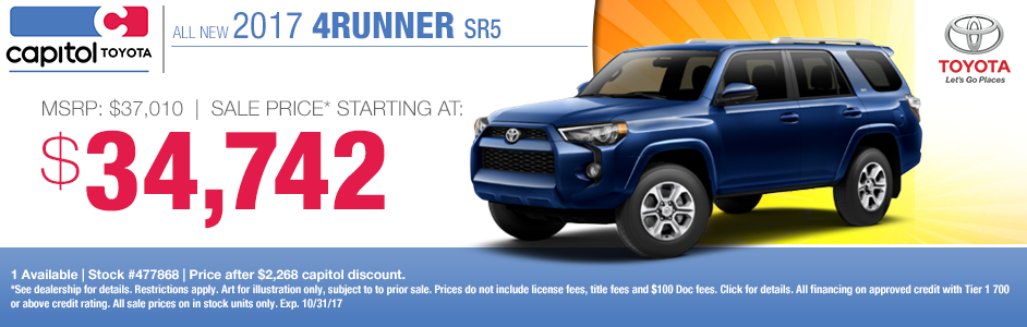 Capitol Toyota Salem Oregon >> Toyota 4Runner Special | New SUV Savings | Salem, OR