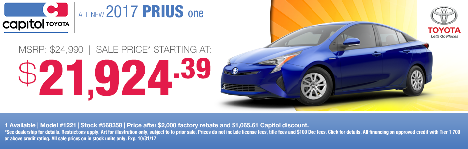 Save on your 2017 Prius One purchase at Captiol Toyota in Salem, OR