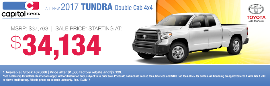 2017 Tundra Double Cab 4x4 sales specials at Captiol Toyota in Salem, OR