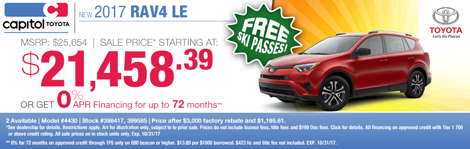 Save on a 2017 RAV4 LE with our purchase or low APR special at Captiol Toyota in Salem, OR