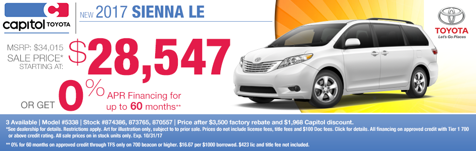 2017 Sienna LE sales or low APR special at Captiol Toyota in Salem, OR