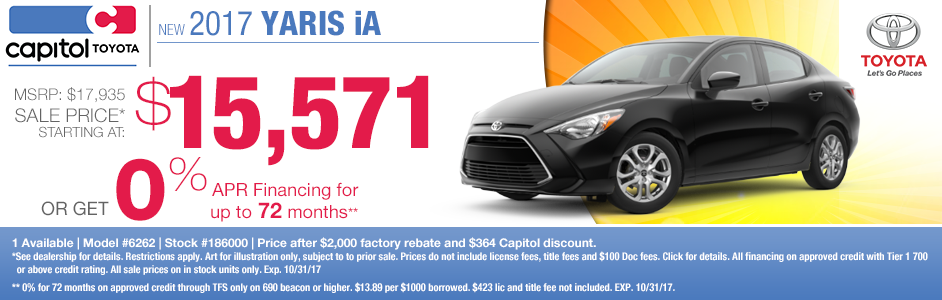 2017 Yaris iA sales or low APR special at Captiol Toyota in Salem, OR