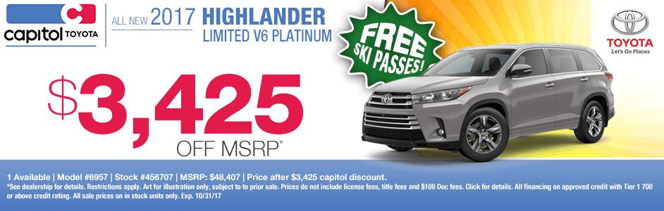 2017 Highlander V6 Platinum sales special at Capitol Toyota in Salem, OR