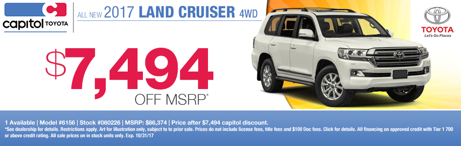 Save on a new 2017 Land Cruiser at Capitol Toyota in Salem, OR