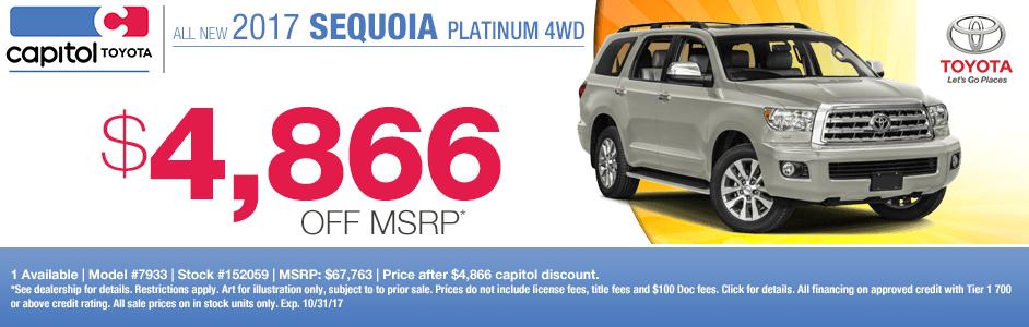 2017 Sequoia Platinum 4WD sales special at Capitol Toyota in Salem, OR