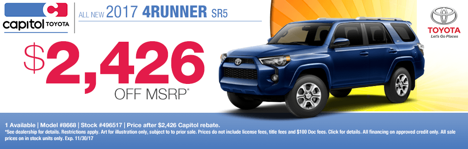 2017 Toyota 4Runner SR5 Purchase Discount Special in Salem, OR