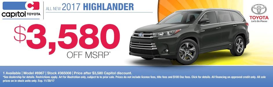 2017 Toyota Highlander Purchase Special in Salem, OR