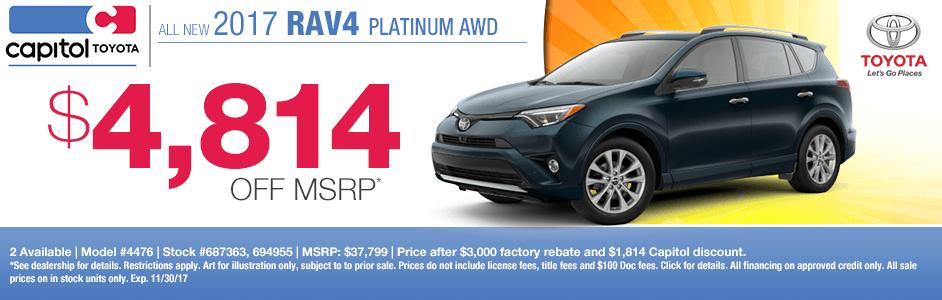 2017 Toyota RAV4 Platinum Purchase Special in Salem, OR