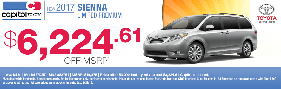 Save on a new 2017 Toyota Sienna Limited Premium with this special discount savings offerat Capitol Toyota in Salem, OR