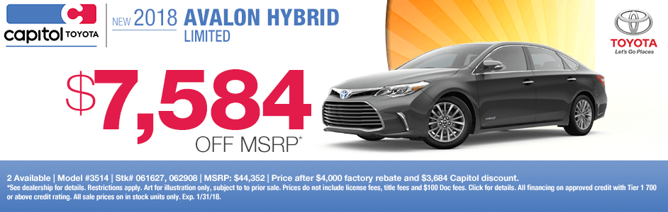 Save on a new 2018 Avalon Hybrid Limited with this special discount savings offerat Capitol Toyota in Salem, OR