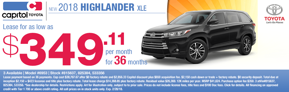 Lease a 2018 Toyota Highlander XLE for a low monthly payment in Salem, OR