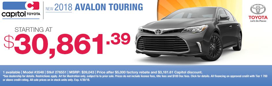 Save on a new 2018 Avalon Touring with this special discount savings offer at Capitol Toyota in Salem, OR