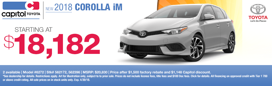 Save on a new 2018 Corolla iM with this special discount savings offer at Capitol Toyota in Salem, OR