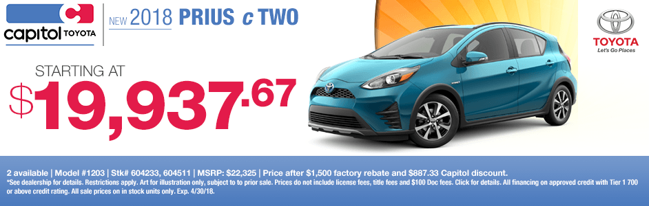 Save on a new 2018 Prius c with this special discount savings offer at Capitol Toyota in Salem, OR