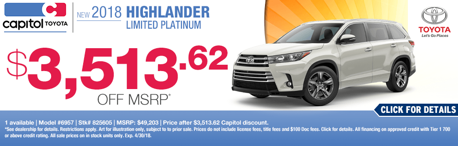Save on a new 2018 Toyota Highlander Limited with this special discount savings offer at Capitol Toyota in Salem, OR