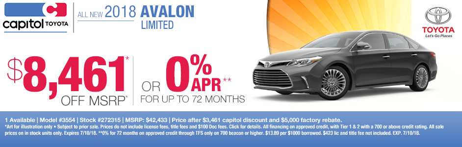 New 2018 Toyota AValon Limited Purchase & Finance Specials in Salem