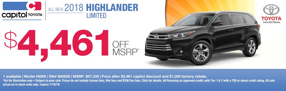 New 2018 Highlander Limited Purchase Special in Salem, Oregon