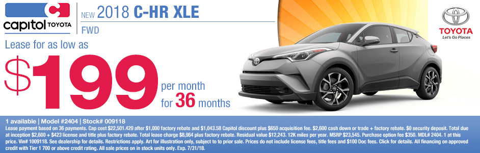 Save on a new 2018 Toyota C-HR XLE FWD with this special lease discount savings offer at Capitol Toyota in Salem, OR