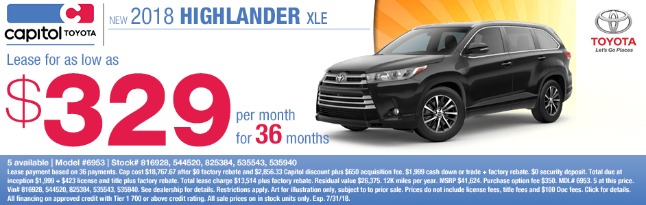 Save on a new 2018 Toyota Highlander XLE with this special lease discount savings offer at Capitol Toyota in Salem, OR