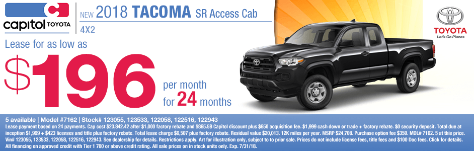 Save on a new 2018 Toyota Tacoma SR Access Cab with this special lease discount savings offer at Capitol Toyota in Salem, OR