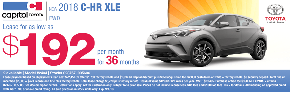 Save on a new 2018 Toyota C-HR XLE with this special lease discount savings offer at Capitol Toyota in Salem, OR