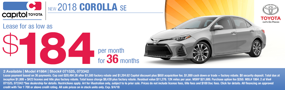 Save on a new 2018 Toyota Corolla SE with this special lease discount savings offer at Capitol Toyota in Salem, OR