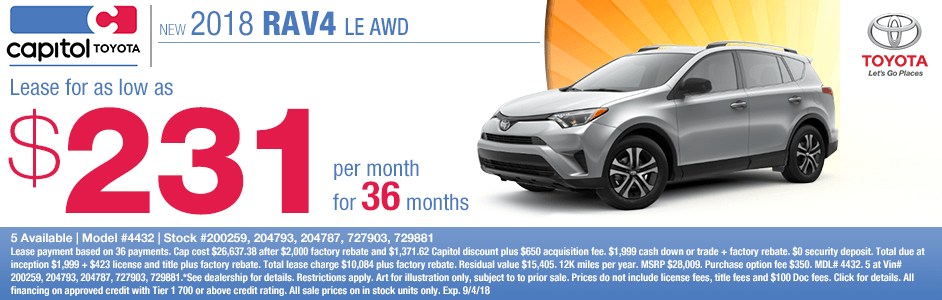 Save on a new 2018 Toyota RAV4 LE AWD with this special lease discount savings offer at Capitol Toyota in Salem, OR