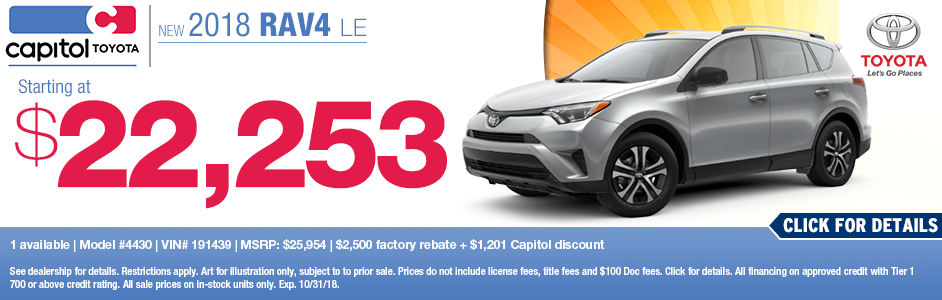 2018 Toyota RAV4 LE Sales Special at Capitol Toyota in Salem, OR