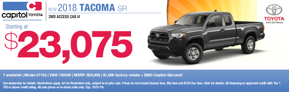 2018 Tacoma SR Purchase Special at Capitol Toyota in Salem, OR