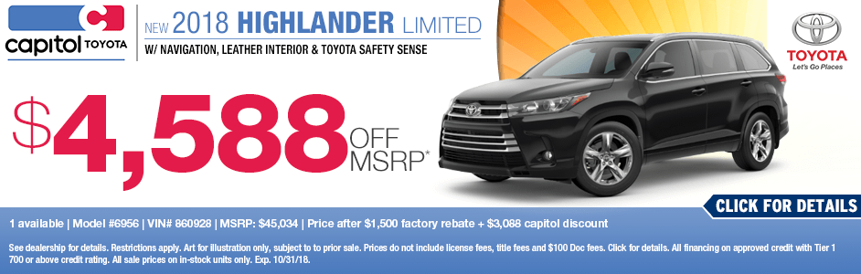 2018 Highlander Limited Sales Special at Capitol Toyota in Salem, OR
