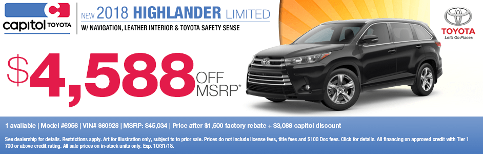 2018 Highlander Limited Sales Special at Capitol Toyota in Salem, OR