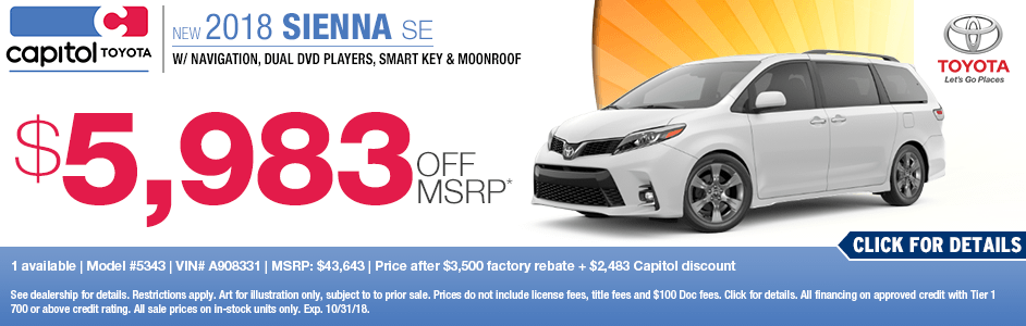 2018 Sienna SE Purchase Special at Capitol Toyota in Salem, OR