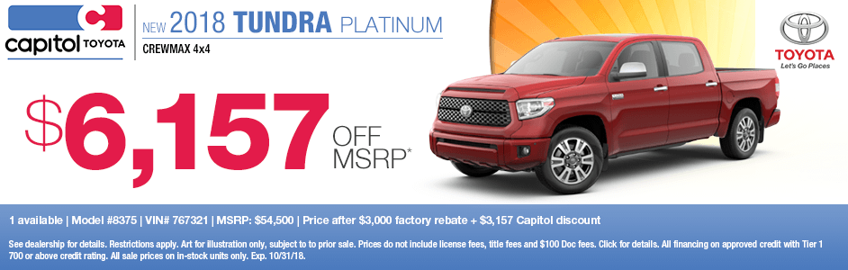 2018 Tundra Platinum Crewmax 4x4 Purchase Special at Capitol Toyota in Salem, OR